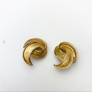 Trifari Earrings Vintage Gold Costume Clips